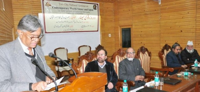National Seminar on ' Contemporary World Order and Iqbal' held at KU