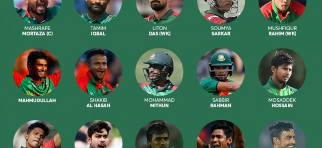 Bangladesh announce squad for cricket World Cup 2019