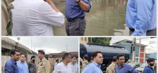 DC Srinagar takes firsthand assessment of water-logging situation after heavy rains