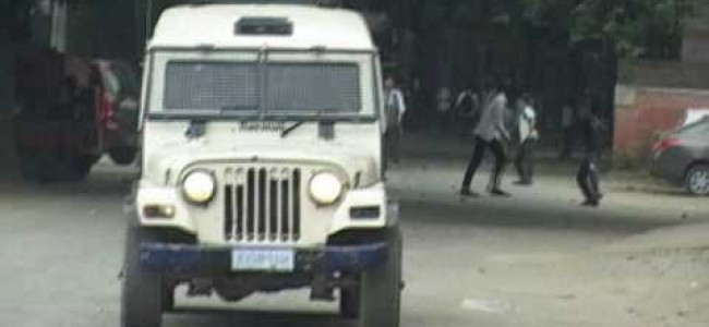 Clashes between police and students at Ganderbal