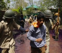 Youth Caught during clashes in Srinagar.