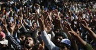 Sea of People attend funeral of Militant at Chadoora.