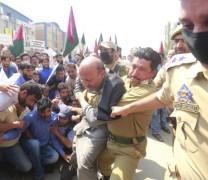 Engineer Rashid arrested during Secretariat Gherao; Pic: Mudasir Khan
