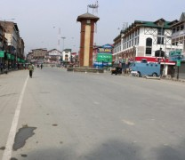 Authorities imposed restrictions in Srinagar and other parts of the Kashmir Valley as the separatists have called for a protest shutdown on Saturday;Pic Mudasir Khan